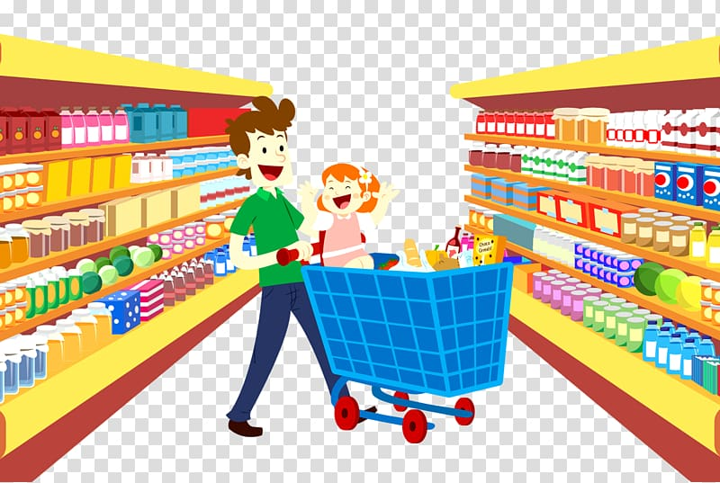banner royalty free stock Supermarket clipart crazy shopping. Man pushing cart in