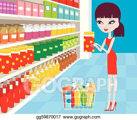 vector royalty free Supermarket clipart crazy shopping. Vector stock woman cartoon
