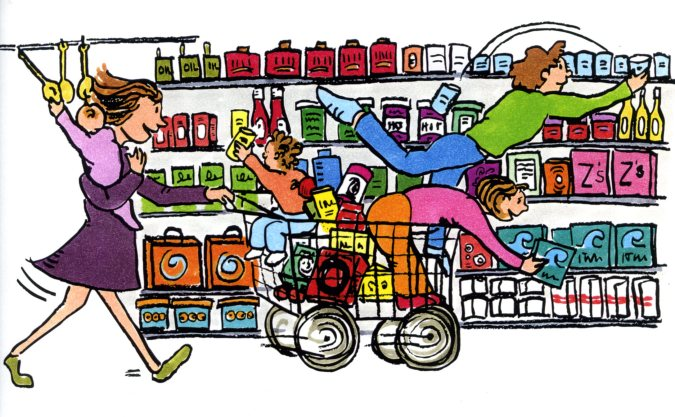 graphic royalty free Grocery store raising joneses. Supermarket clipart crowded.