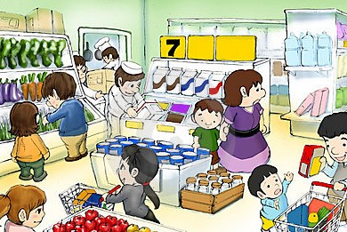 jpg free Supermarket clipart crowded. Divine blossoms family reunion.