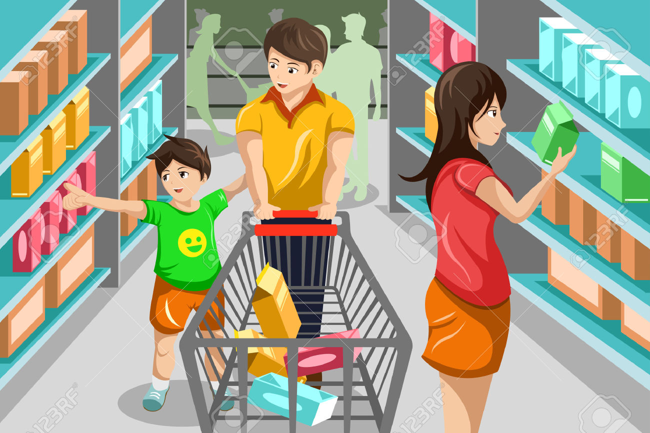 banner royalty free stock Supermarket clipart customer buying. Buy shopping