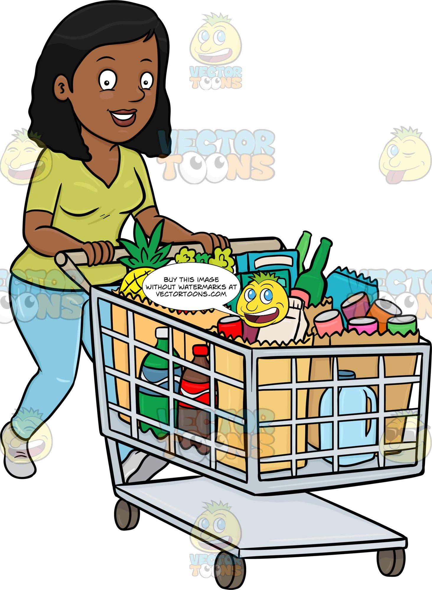 svg black and white library A black woman smiles. Supermarket clipart customer buying