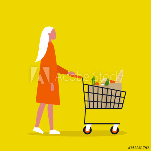 clip art library Young female grocery store. Supermarket clipart customer buying
