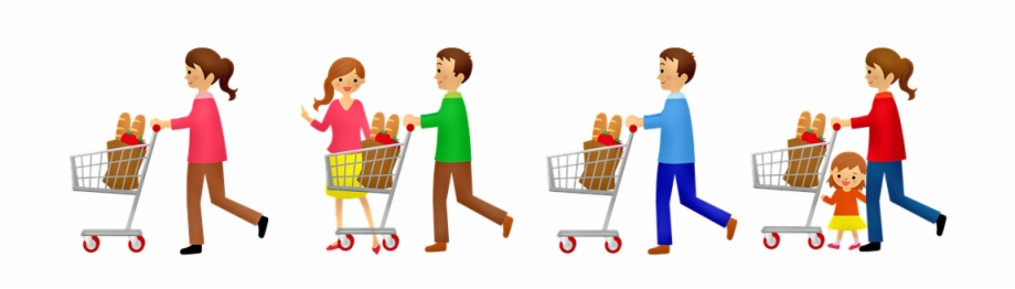 picture freeuse library Grocery cart . Supermarket clipart customer shopping