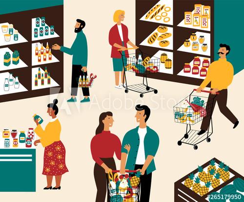 jpg library stock Supermarket clipart customer shopping. Men and women buying