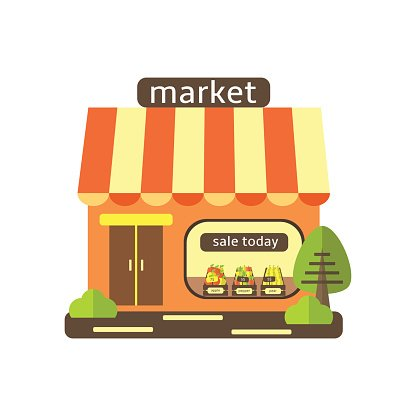 svg royalty free stock Supermarket clipart cute. Flat style street shop