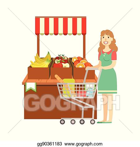 clipart freeuse stock Vector art woman shopping. Supermarket clipart departmental store