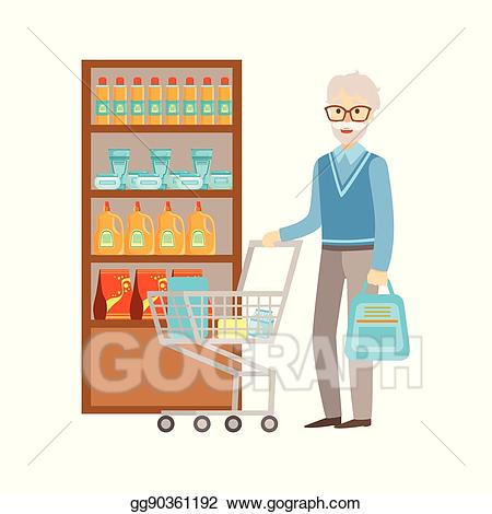 black and white Vector art old man. Supermarket clipart departmental store.