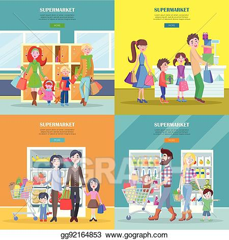 jpg Supermarket clipart entrance. Vector happy families have