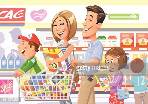 image transparent download Shopping in image . Supermarket clipart family