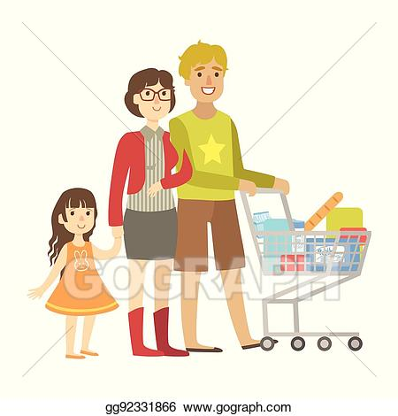 graphic free library Vector parents and little. Supermarket clipart family