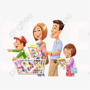 clipart black and white stock Supermarket clipart family. Shopping png transparent cartoon