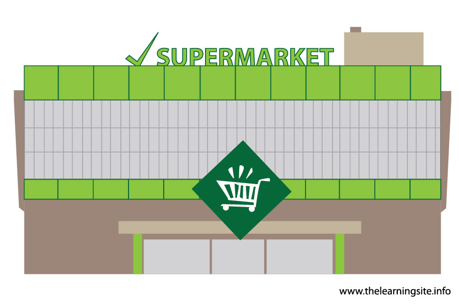 clip art black and white stock Supermarket clipart flashcard. Places building pencil and.