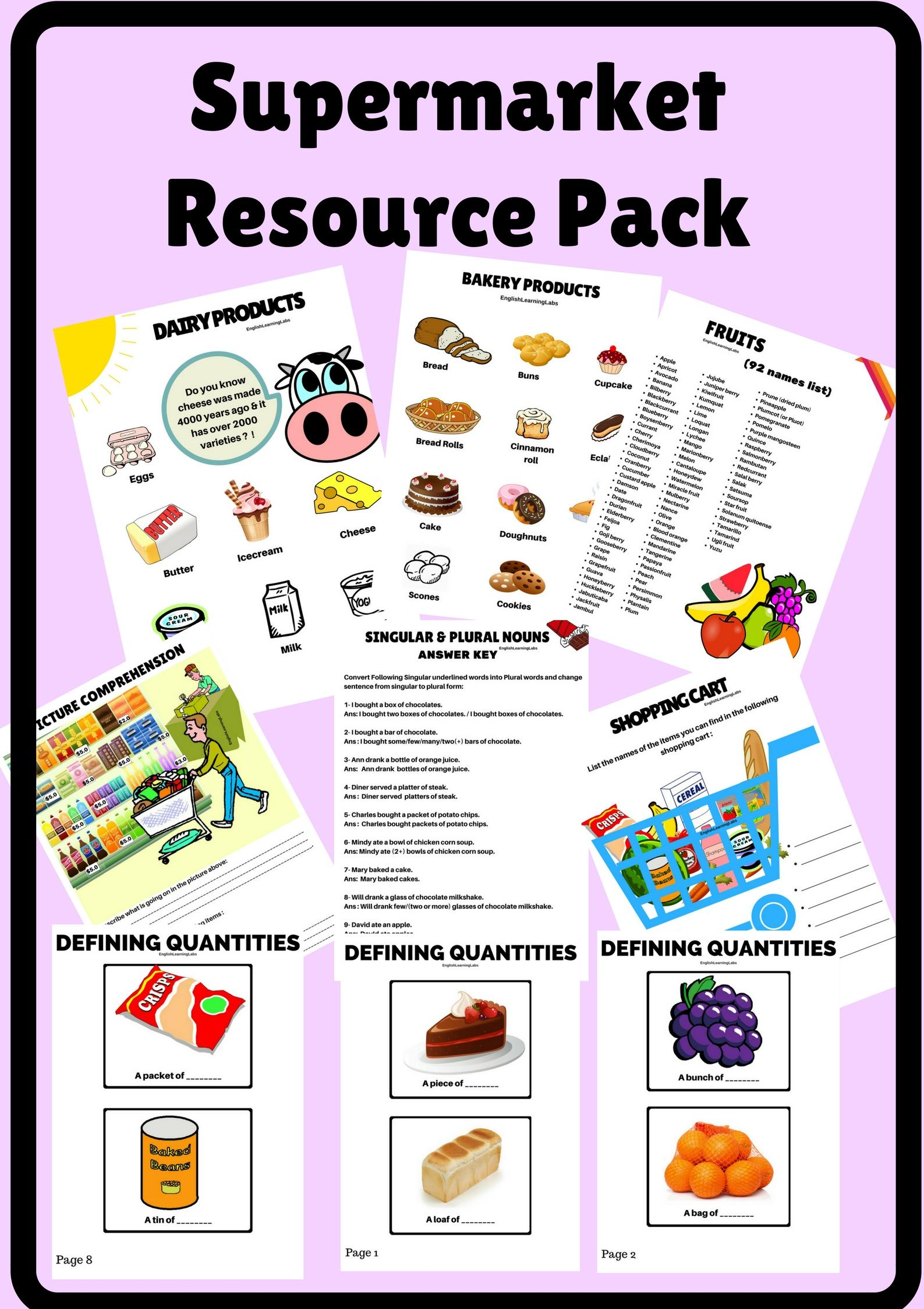 image stock Resource pack worksheets flash. Supermarket clipart flashcard.