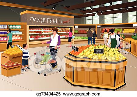 svg library Supermarket clipart food store. Vector stock mother son.