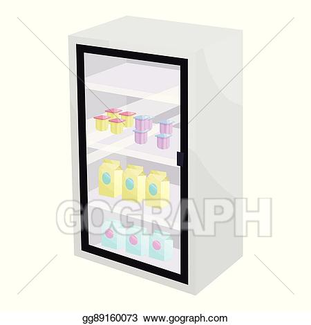 jpg free Supermarket clipart fridge. Vector art dairy products