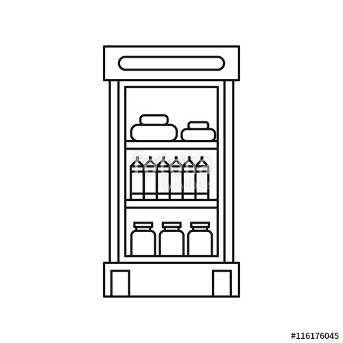 clipart Products in the refrigerator. Supermarket clipart fridge