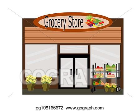 picture freeuse Vector art grocery store. Supermarket clipart front.