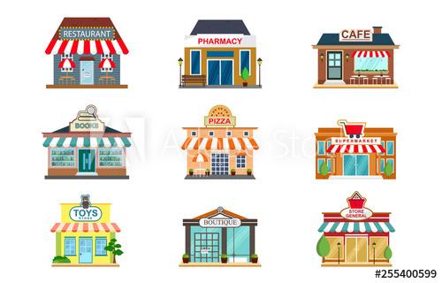 vector download Supermarket clipart front. Store facade restaurant pharmacy