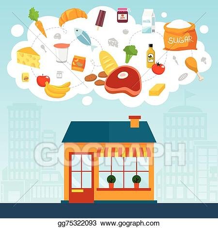 picture royalty free stock Eps vector grocery store. Supermarket clipart front.