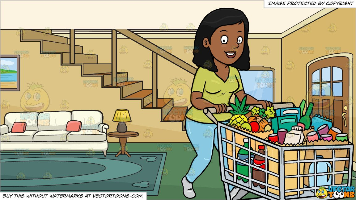 freeuse library A black woman smiles. Supermarket clipart front.