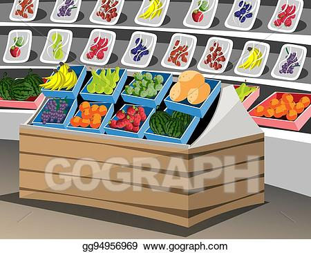 svg black and white download Supermarket clipart fruit. Eps vector shelf with
