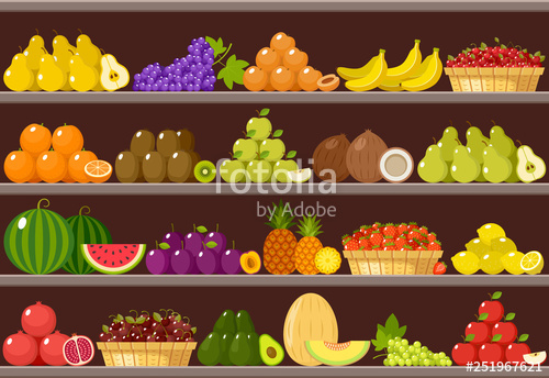 vector free Counter with fruits stock. Supermarket clipart fruit