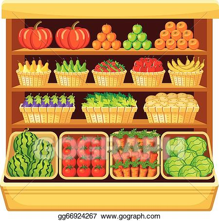free Vector illustration vegetables and. Supermarket clipart fruit