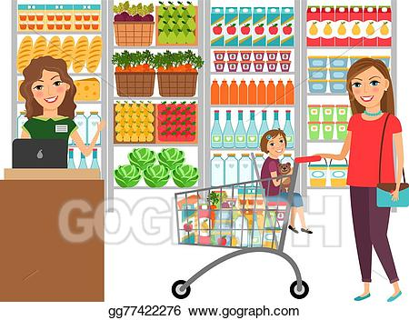 picture free library Supermarket clipart go to store. Vector art woman shopping