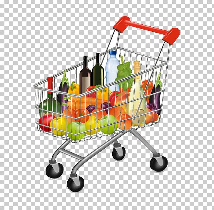 banner transparent Shopping cart store illustration. Supermarket clipart grocery basket.