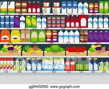 jpg transparent stock Supermarket clipart grocery flyer. Vector store shelves with.