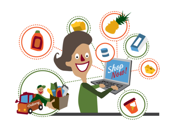 jpg royalty free Online shopping or nah. Supermarket clipart grocery shop