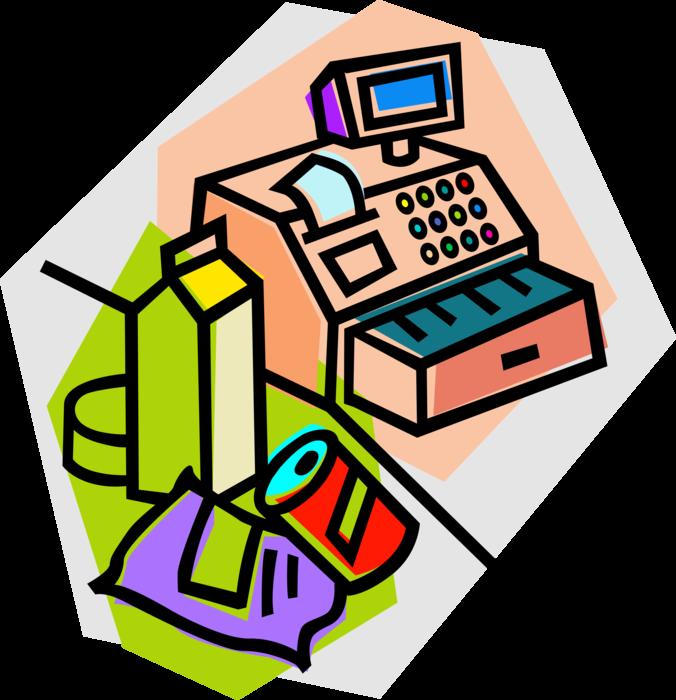 banner library stock Supermarket clipart illustration. Groceries at cash register