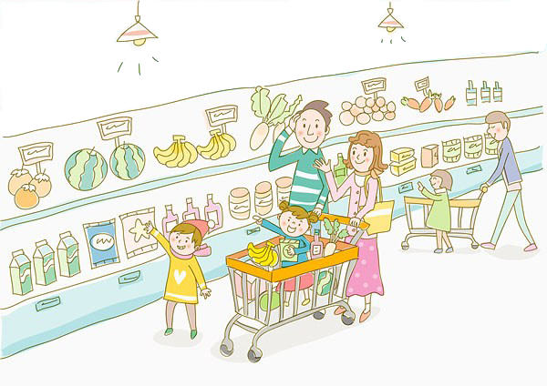 graphic transparent Food Cartoon Grocery store Supermarket Illustration