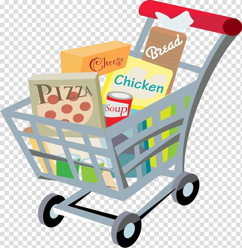 clip art transparent stock Supermarket clipart illustration. Kart with foods in