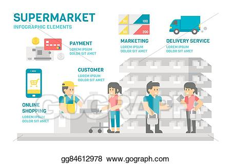 png transparent library Vector illustration flat design. Supermarket clipart infographic