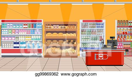 picture royalty free stock Supermarket clipart interior. Vector illustration shelves with.