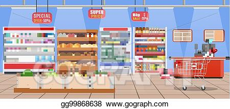 svg royalty free download Eps vector store with. Supermarket clipart interior.