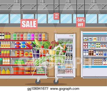 banner free Clip art vector store. Supermarket clipart interior.
