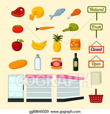 freeuse stock Supermarket clipart items. Eps vector collection of