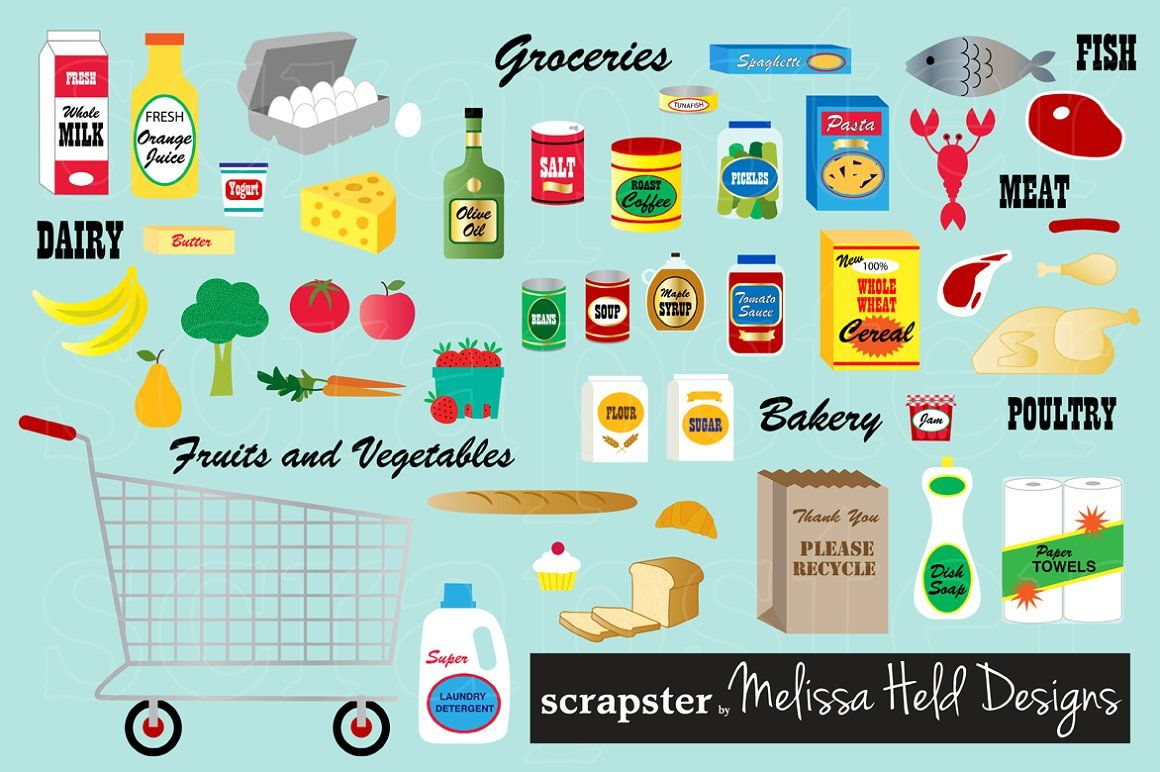 free Grocery store illustrations clip. Supermarket clipart items