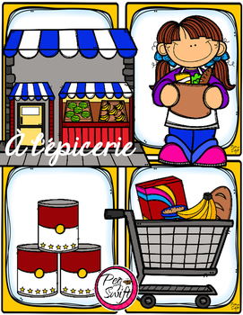 svg transparent download Supermarket clipart l epicerie. Grocery store vocabulary worksheets