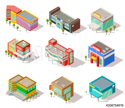 graphic Isometric store shop and. Supermarket clipart mall.