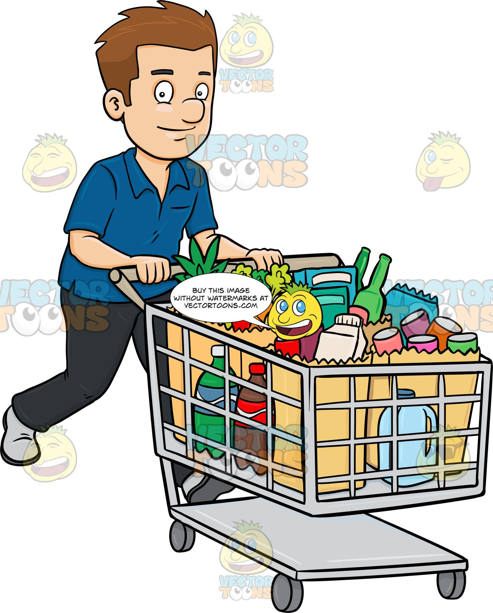 graphic black and white download Supermarket clipart man. A smiles after checking.