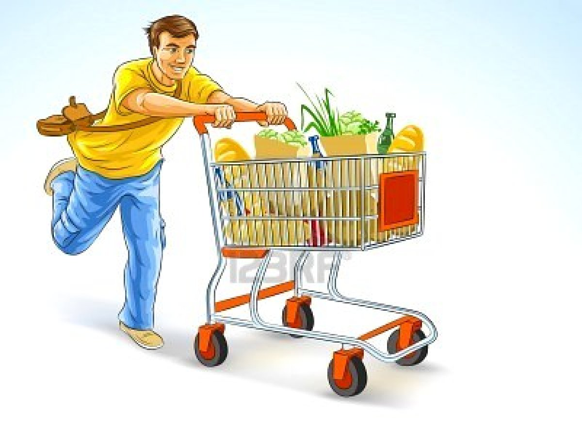 vector stock Grocery shopping why it. Supermarket clipart man.