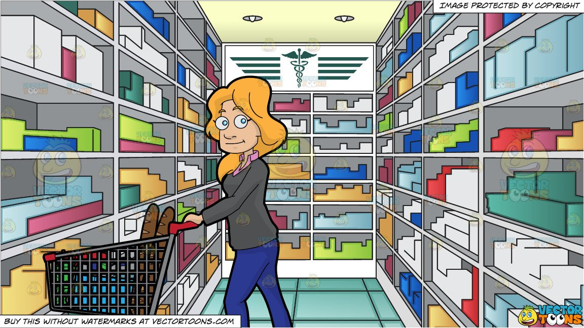 image black and white stock Supermarket clipart medical store. A woman shopping for