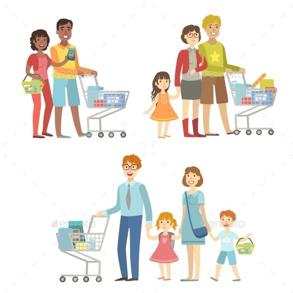 svg transparent download Supermarket clipart mother daughter shopping. Pin on vector people.