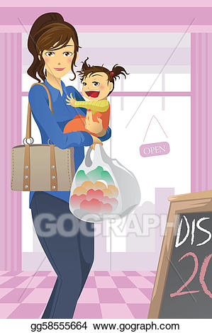 clipart free download Supermarket clipart mother daughter shopping. Eps vector and stock.