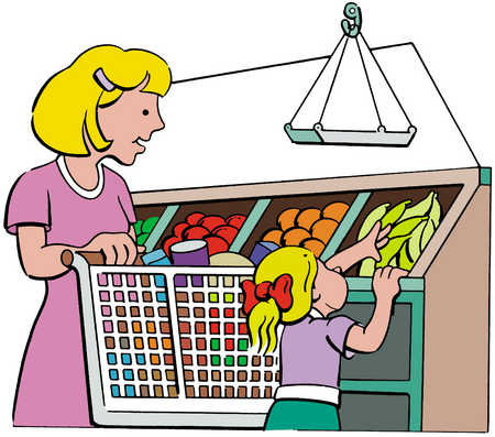 graphic free Stock illustration and grocery. Supermarket clipart mother daughter shopping.