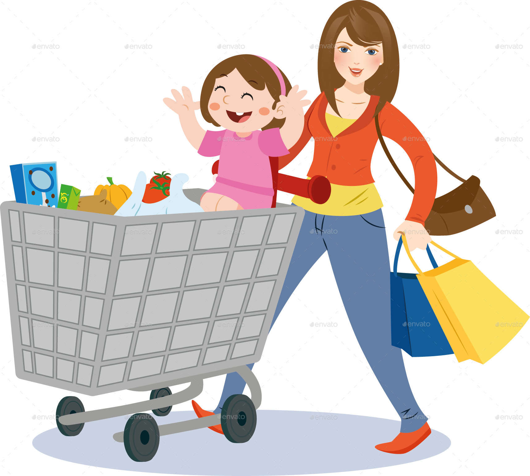 clip art library stock Mom and child by. Supermarket clipart mother daughter shopping